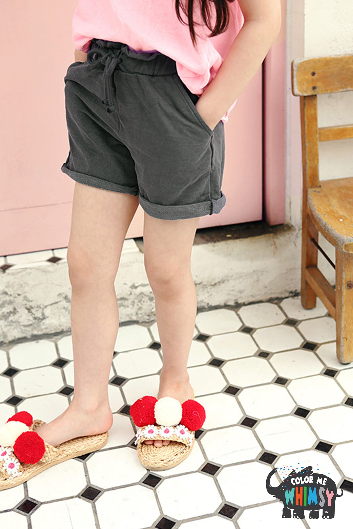 Peach and Cream Easy Shorts at Color Me WHIMSY Hip Kid's Fashion Ethically Made in South Korea