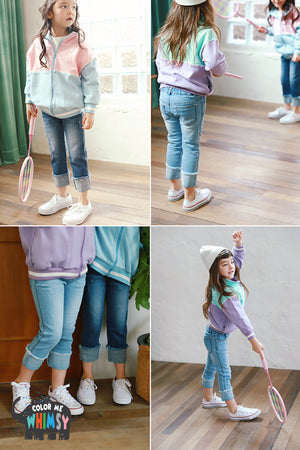 Peach and Cream Fold-up Jeans at Color Me WHIMSY Hip Kid's Fashion Ethically Made in South Korea