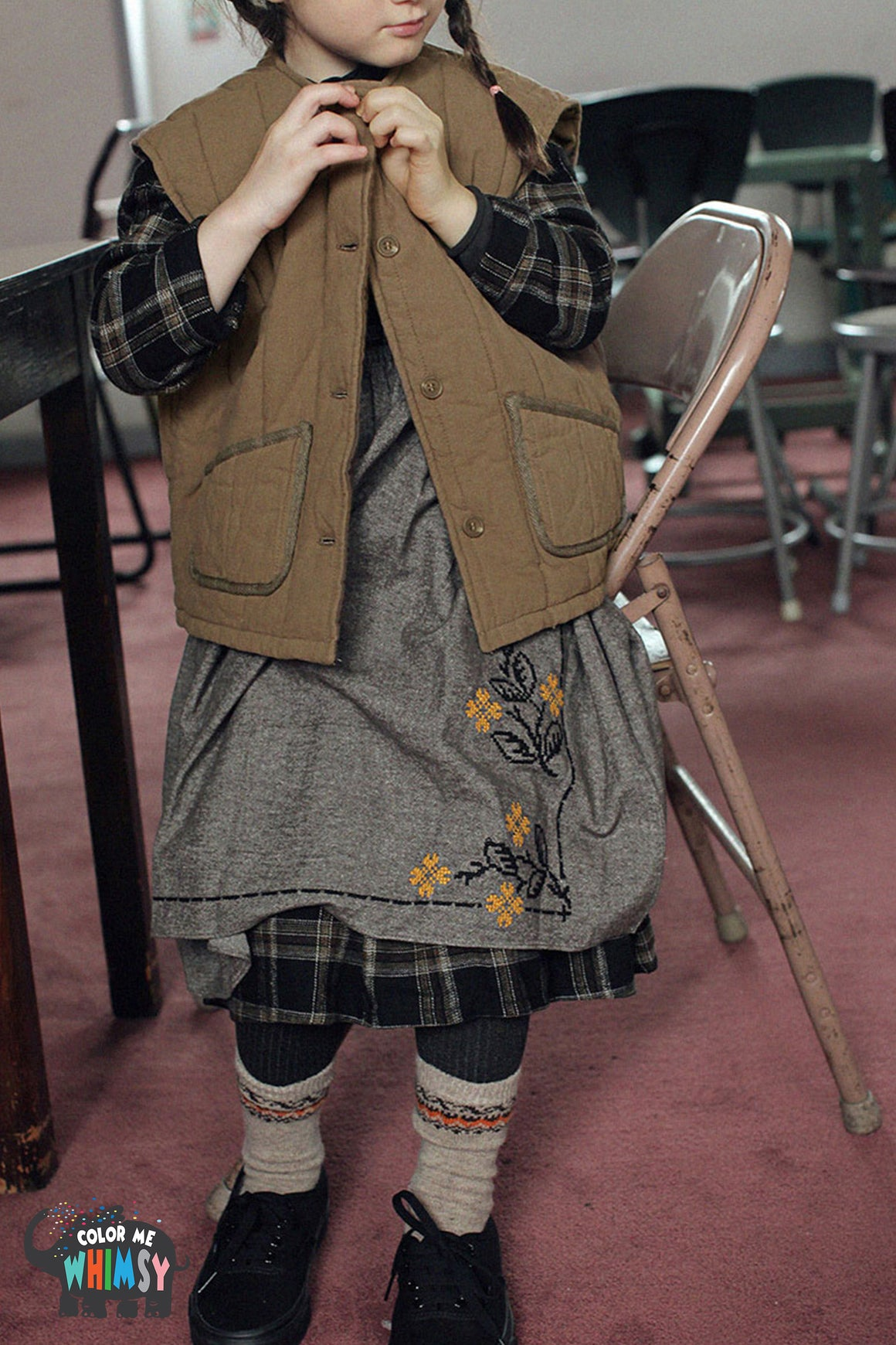 SCON Tovy Quilted Vest at Color Me WHIMSY Hip Kid's Fashion Ethically Made in South Korea