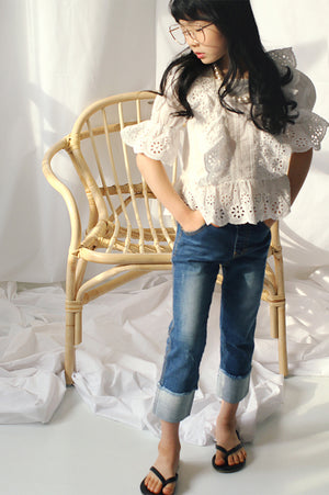Peach and Cream Mayo Blouse at Color Me WHIMSY Hip Kid's Fashion Ethically Made in South Korea