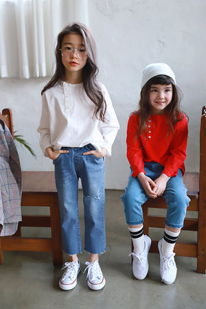 Peach and Cream Tami Jeans at Color Me WHIMSY Hip Kid's Fashion Ethically Made in South Korea