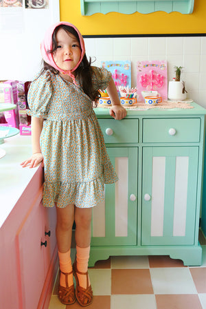 Peach and Cream Dico Dress at Color Me WHIMSY Hip Kid's Fashion Ethically Made in South Korea