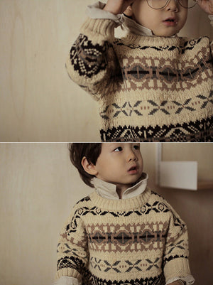 Bien a Bien BN Figure Jacquard Knit Pullover at Color Me WHIMSY hip kid's fashion ethically made in south korea