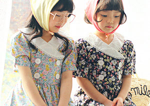 Peach and Cream Bella Vintage Dress at Color Me WHIMSY Hip Kid's Fashion Ethically Made in South Korea