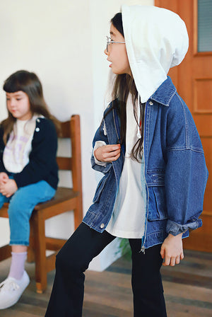 Peach and Cream Diva Denim Jacket at Color Me WHIMSY Hip Kid's Fashion Ethically Made in South Korea