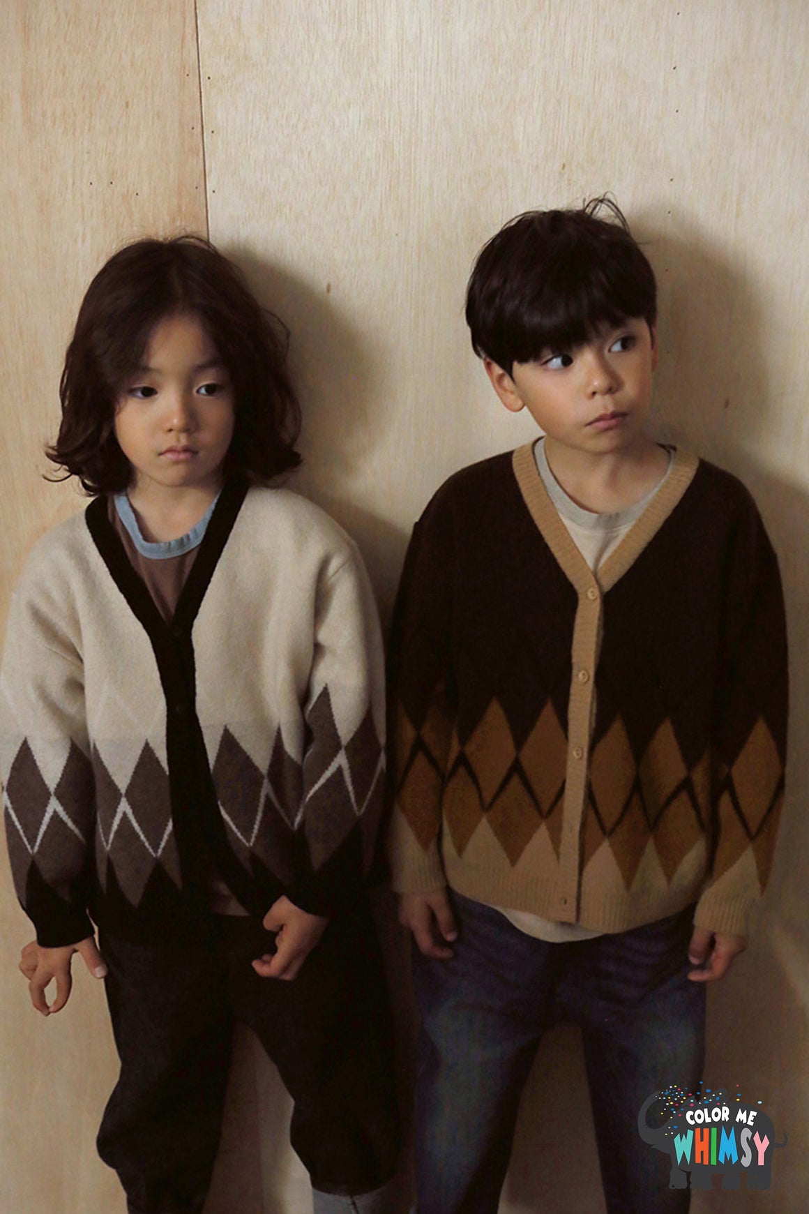 Bien a Bien BN Argyle Cardigan at Color Me WHIMSY hip kid's fashion ethically made in south korea