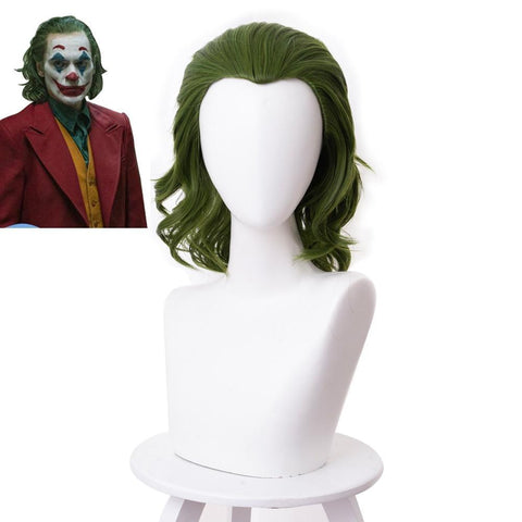Boutique-Joker 2019 Joker Movie Clown Batman Joker Hair Peluca Cosplay Joaquin Phoenix Arthur Fleck Curly Green Peruko Synthetic Hair Headgear Joker