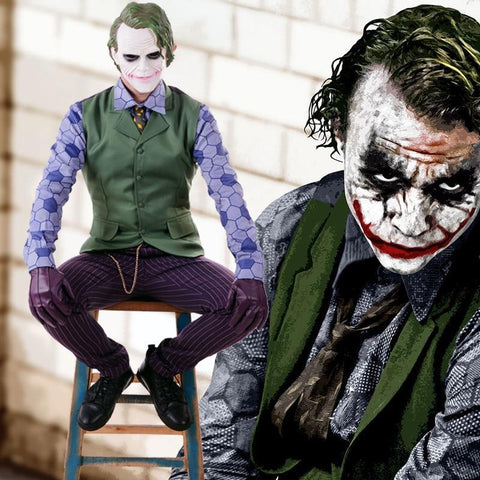 Boutique-Joker Batman The Dark Knight Rises Joker Cosplay Uniform Suit Men's Halloween Costumes Carnival Fancy Party Costume Custom Made Joker