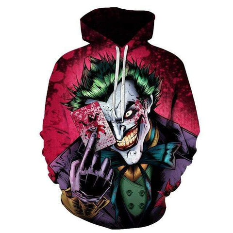 Boutique Joker Sweat LMS070 / 4XL Sweat Joker <br> Carte Ensanglanté Joker