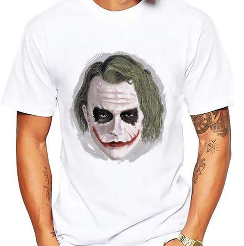 Comics-Joker 342A / S salute Heath Ledger Most classic Joker t shirt men white Casual Breathable tee shirt homme dark Violence Aesthetics tshirts Joker