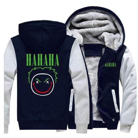 "Suicide-Joker Gray Dark Blue / XXL Veste Polaire Joker <br> Et Son Rire ""ha ha ha"" Joker"