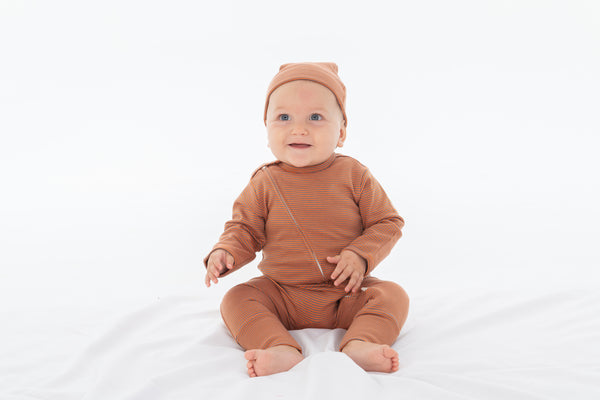 Rose Stripes Organic Long Sleeve Zipsuit