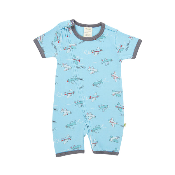 Organic Cotton - Baby Zipsuit - Crazy Planes