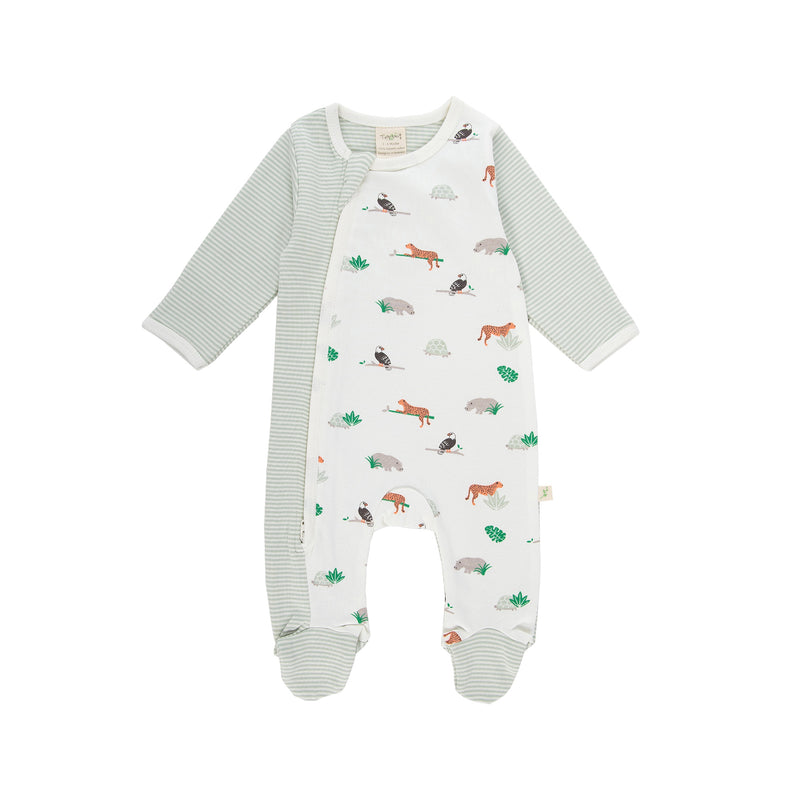 Nature Stripes / Animal Kingdom Organic Side Zipsuit with Feet