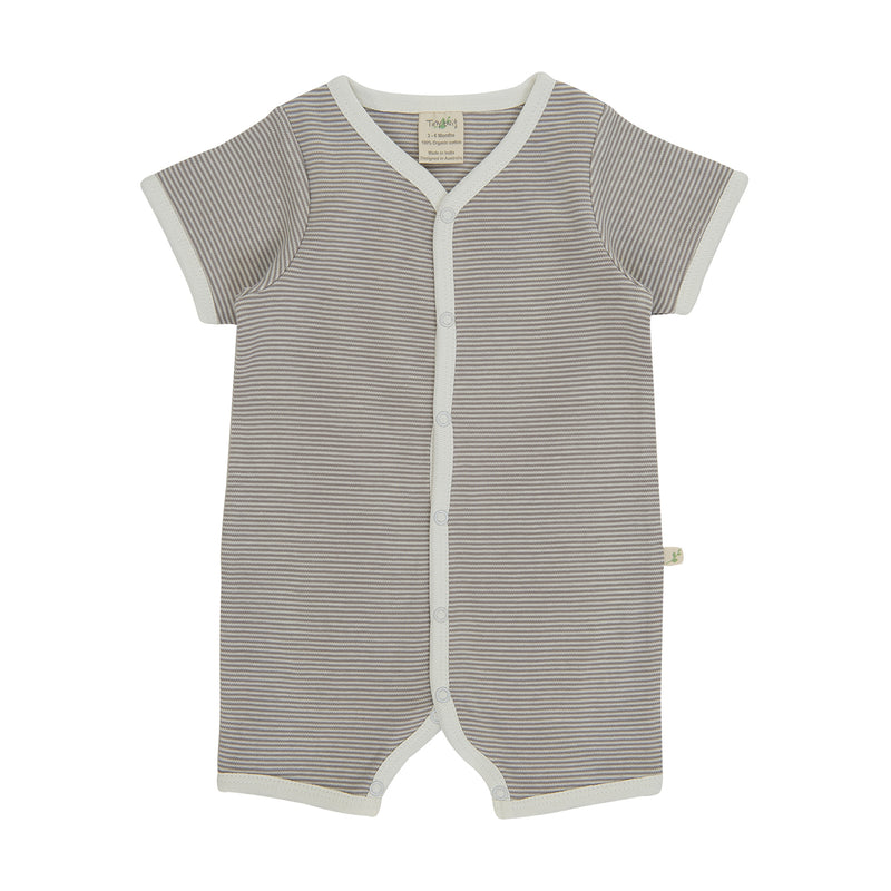 Organic Cotton - Baby Snap Jumpsuit -  Granite Stripes