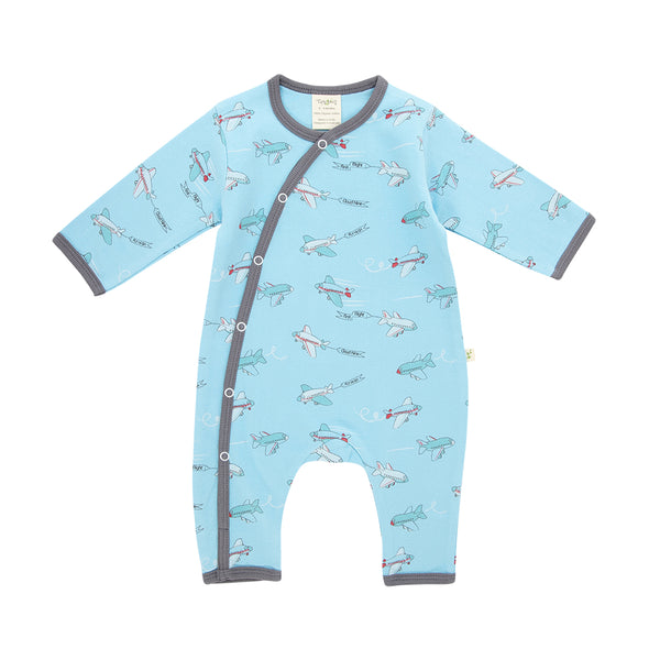 Organic Cotton - Baby Snap Growsuit - Crazy Planes