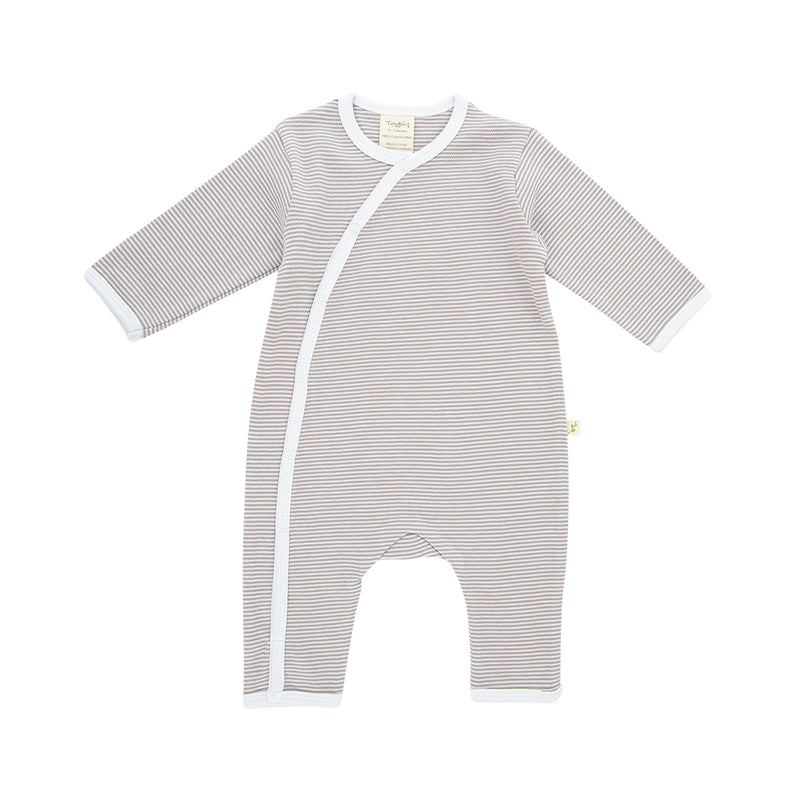 Organic Cotton - Baby Snap Growsuit -  Granite Stripes