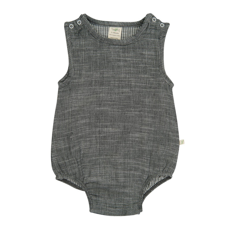 Organic Cotton -  Baby Bubble Romper -  Grey Chambray