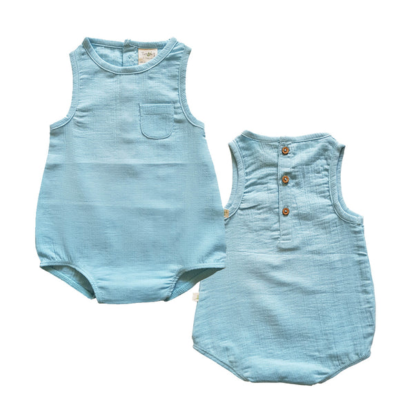 Organic Cotton Crinkle Muslin Baby Romper - Baby Blue