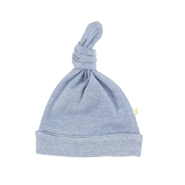 Navy Stripes Organic Knotted Beanie