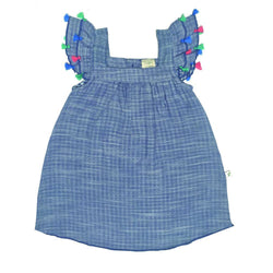 Organic Cotton - Tassel Dress with Bloomer - Blue Chambray
