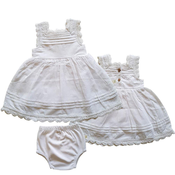 Organic Cotton Baby Girl Blossom Dress - White