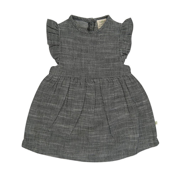 Organic Cotton - Girls Summer Dress -  Grey Chambray