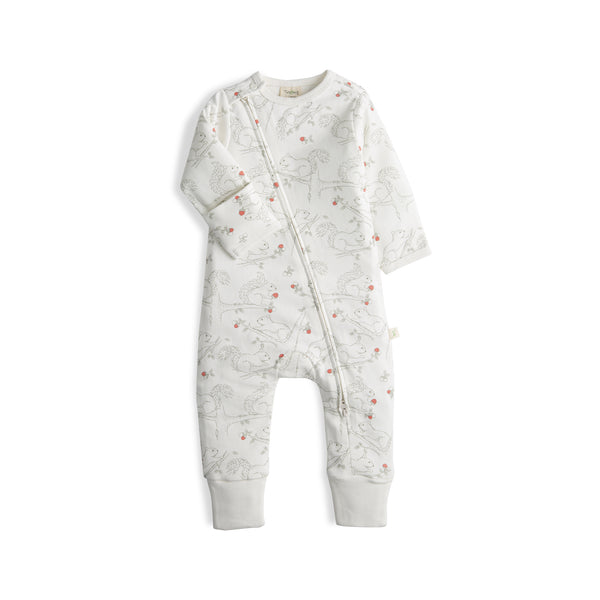 Cute Squirrel Organic Long Sleeve Zipsuit