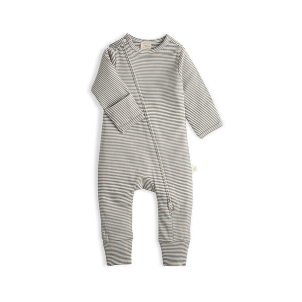 Olive Stripes Girls Organic Long Sleeve Zipsuit