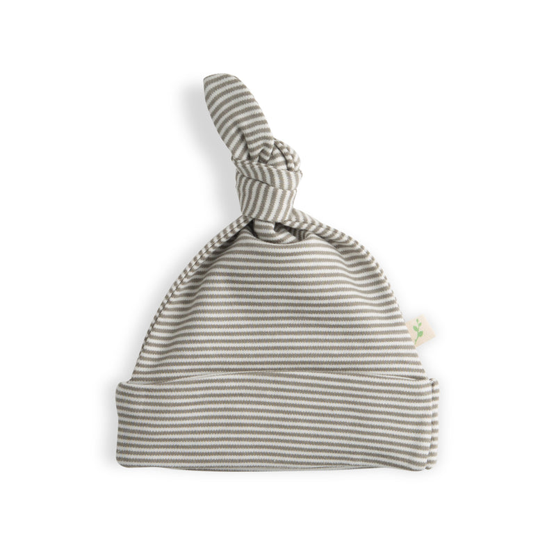 Olive Stripes Organic Knotted Beanie