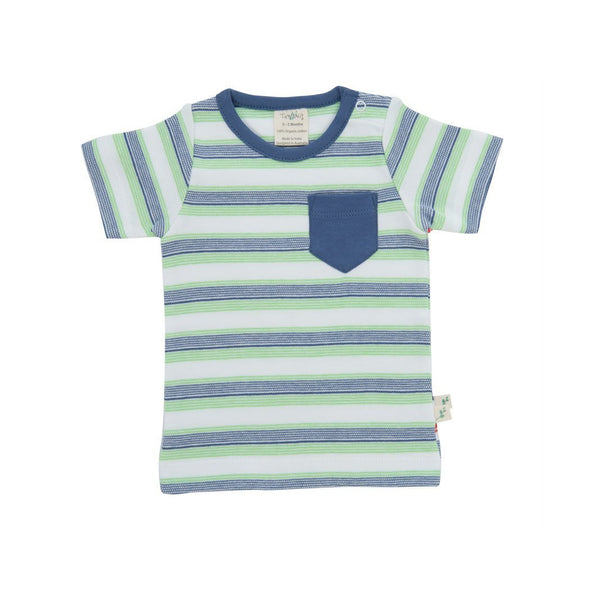 Organic Cotton - Baby Round Neck Tee - Cactus Stripes