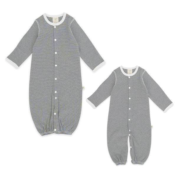 Organic Cotton -  Baby Sleepsuit -  Graphite  Stripes