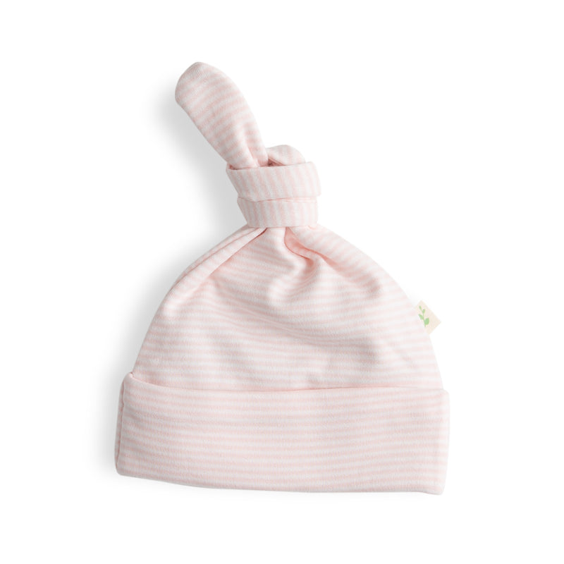 Soft Pink Stripes Organic Knotted Beanie