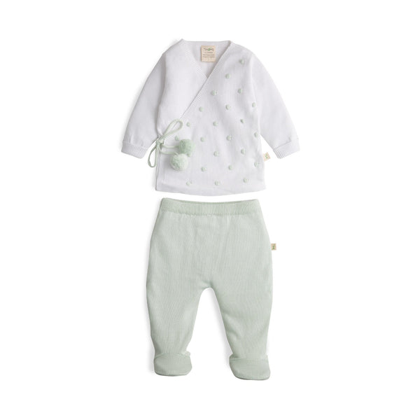 White/Nature Green Organic Knitted Kimono Set