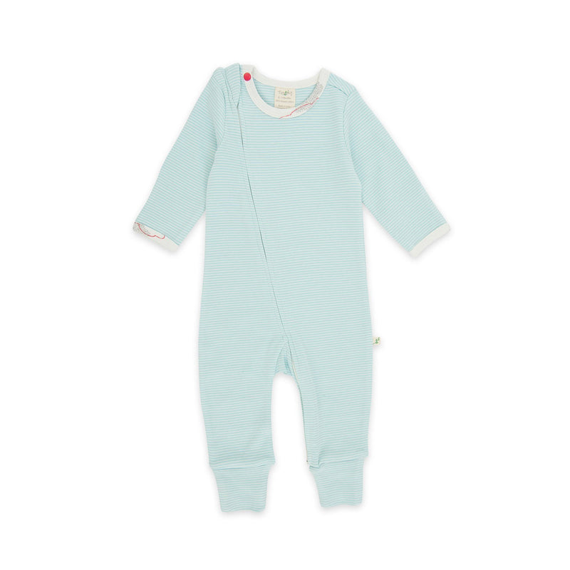 Cool Blue Stripes Organic Long Sleeve Zipsuit