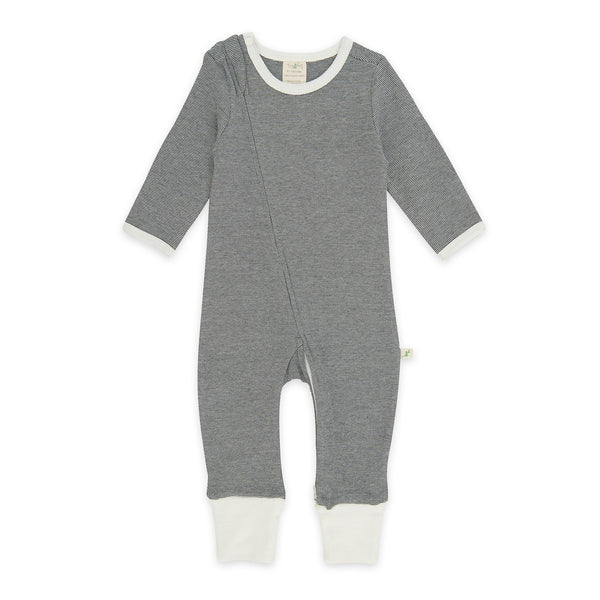 Organic Cotton - Baby Long Sleeve Zipsuit - Diamond Stripes