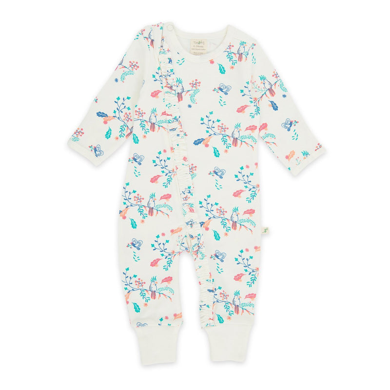 Organic Cotton -  Baby Long Sleeve Zipsuit -  Garden Floral