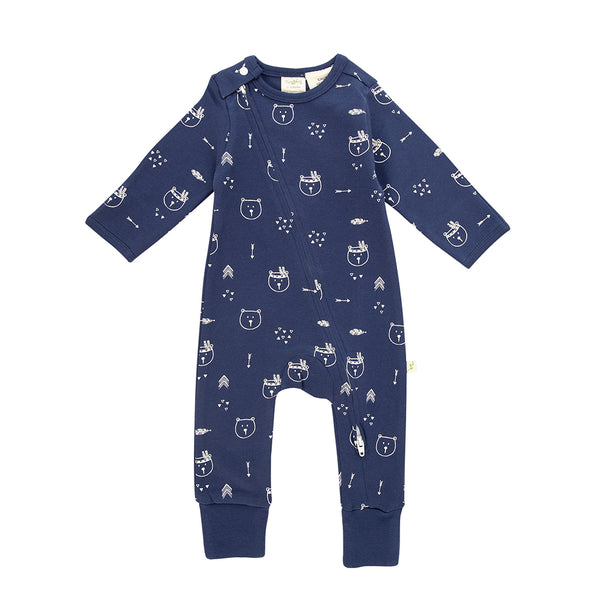 Long Sleeve Baby Zipsuit - Bear Hugs | Organic Cotton | Tiny Twig