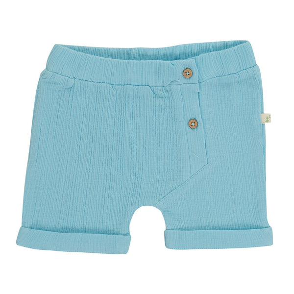Organic Cotton Crinkle Muslin Baby Shorts - Baby Blue