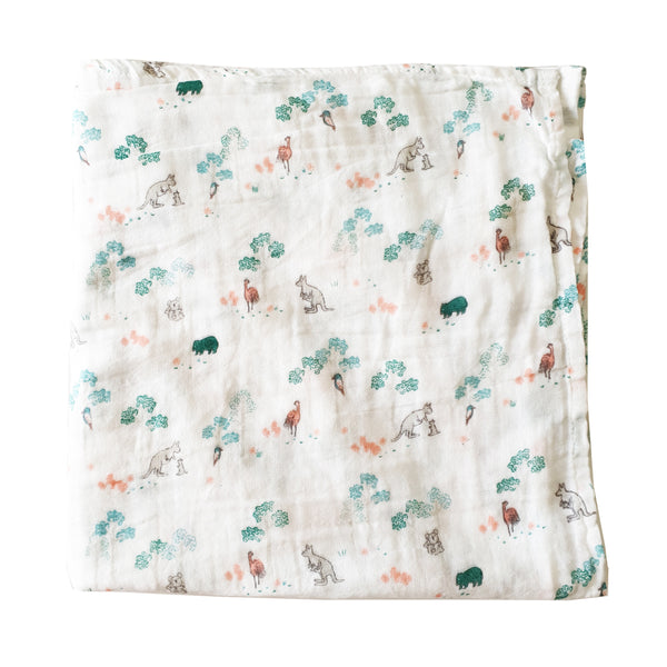 Organic Cotton Muslin Wrap - Australiana