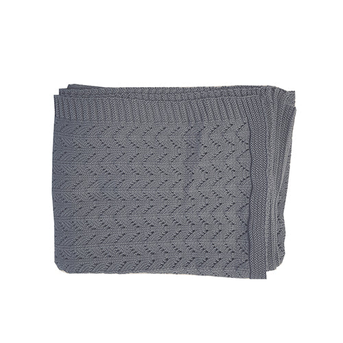 Dark Grey Organic Knitted Blanket
