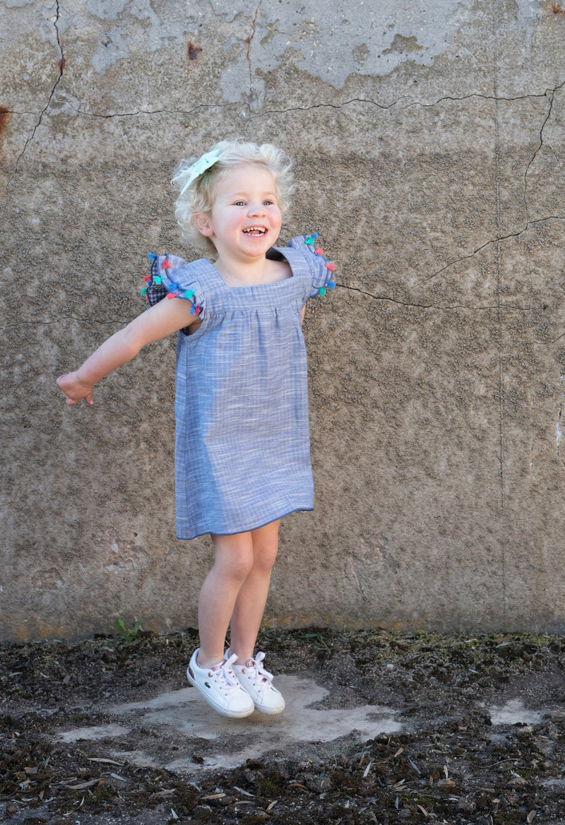 Blue Chambray Tassel Organic Dress