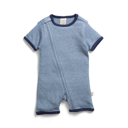 Navy Stripes Organic Short Sleeve Zipsuit