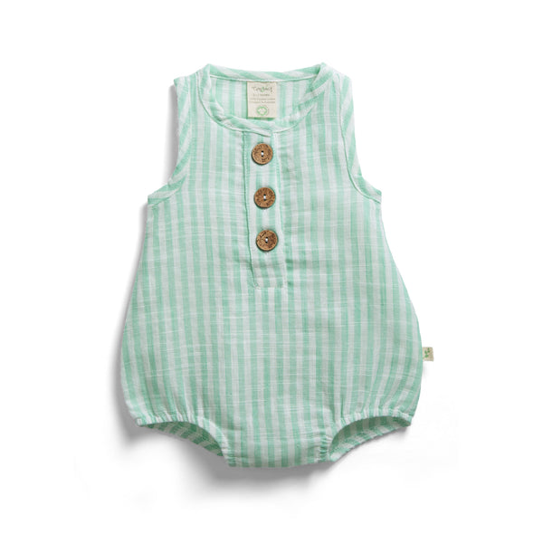 Ocean Stripes Organic Bubble Romper