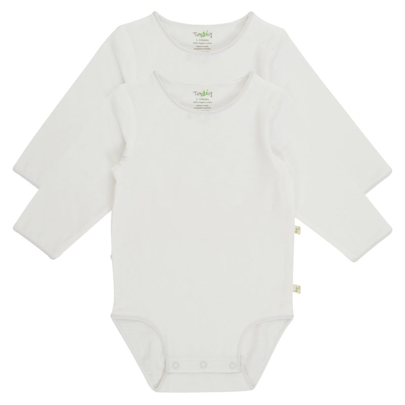 Organic Cotton Baby Long Sleeve Bodysuit - White
