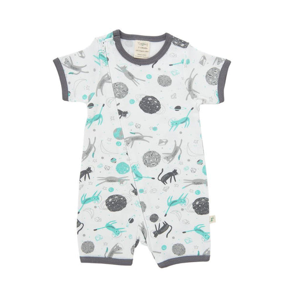 Organic Cotton Baby Zipsuit - Space Cat