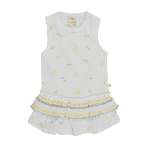 Organic Cotton Baby Singlet Dress - Tiny Leaf