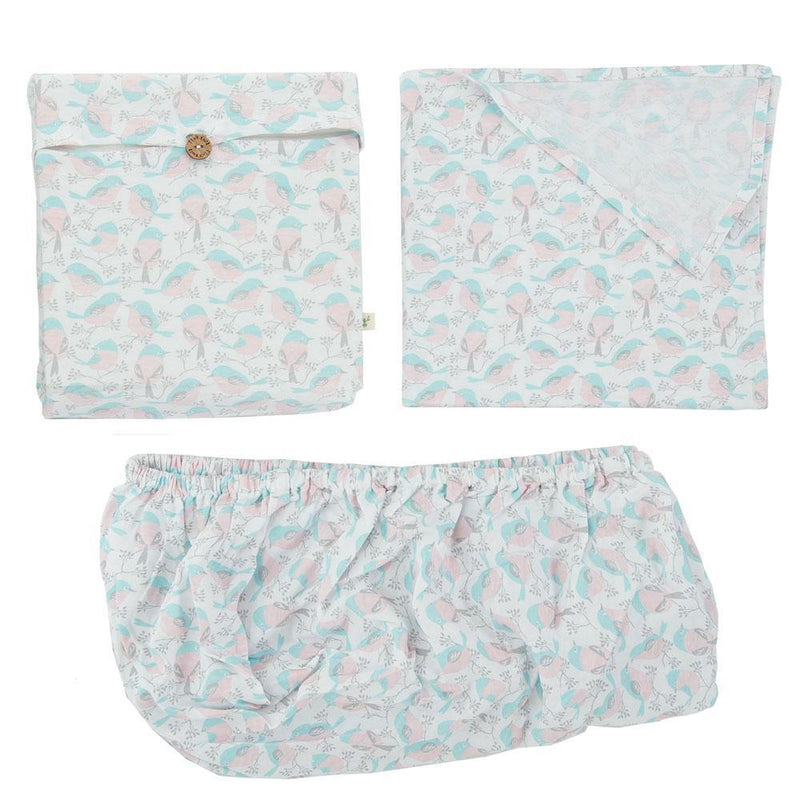Organic Cotton Baby Fitted Sheet Set - Love Birds