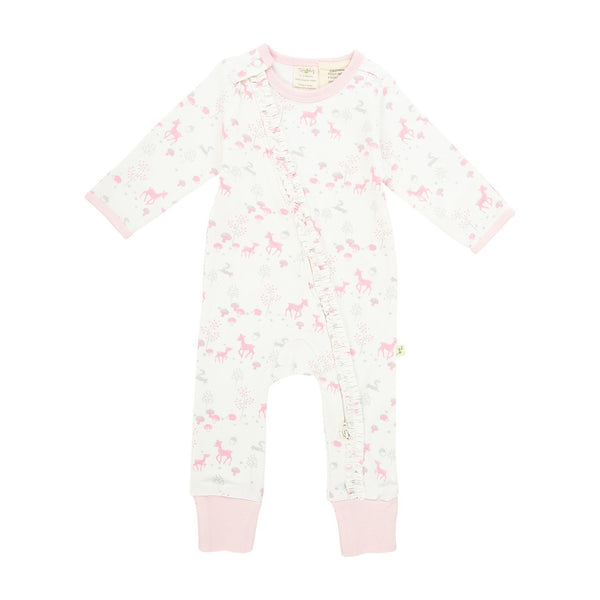 Organic Cotton Baby Frill Long Sleeve Zipsuit - Pink Bambino