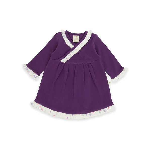 Organic Cotton Baby Girl - Kimono Dress - Plum